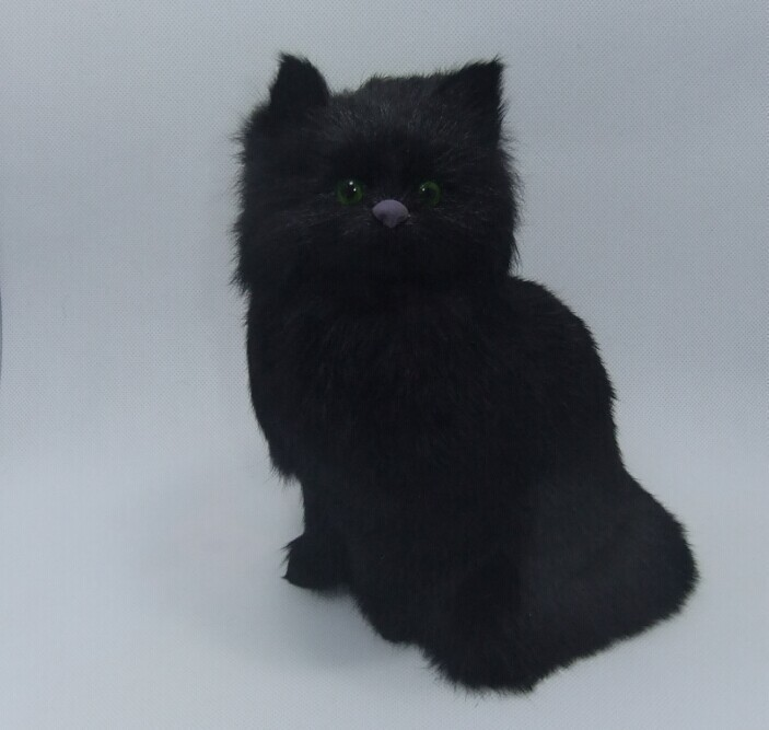 simulation black cat toy polyethylene furs handicraft Decoration prop cat doll about 24x17cm
