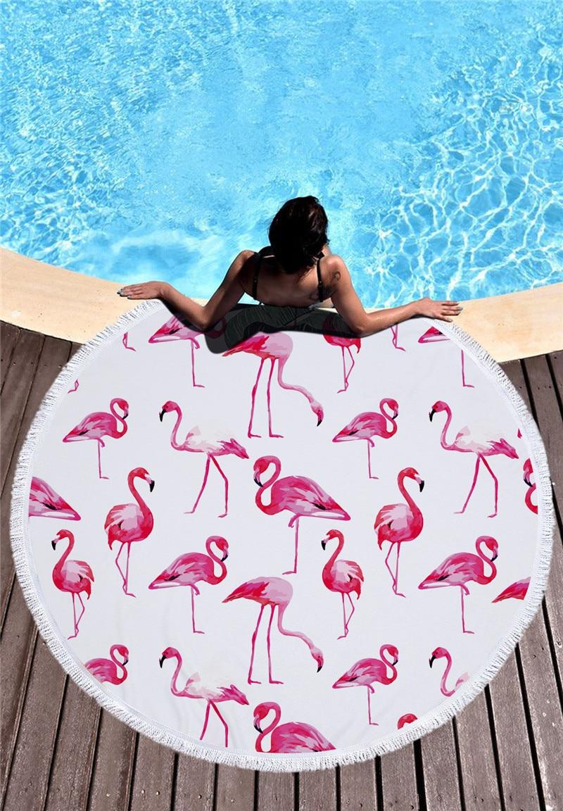 HTB1IsR6SXXXXXc9XVXXq6xXFXXXz - Round Style Microfiber Beach Towel - Flamingo With Tassels Design