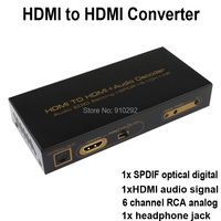High Quality 1080P 3D HDMI To HDMI Converter Adapter With Audio SPDIF Optical Toslink RCA Analog