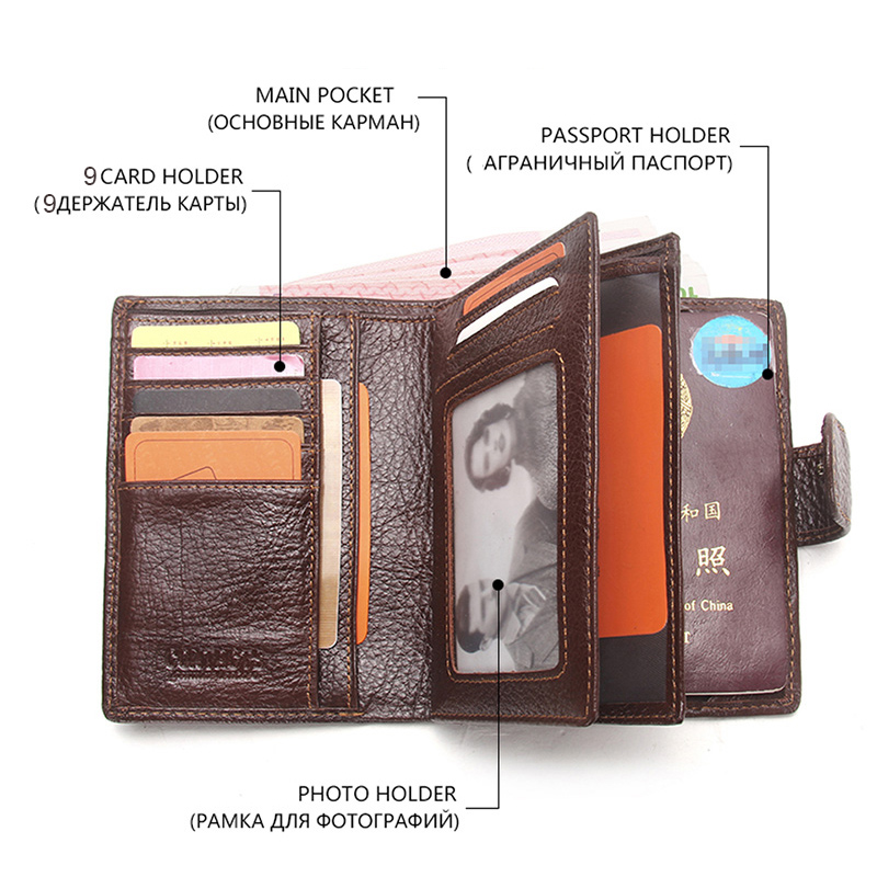 CONTACT'S Real Genuine Leather Men Passport Holder Wallets Man Portomonee Passport Cover Purse Brand Male Credit Card Wallet 2