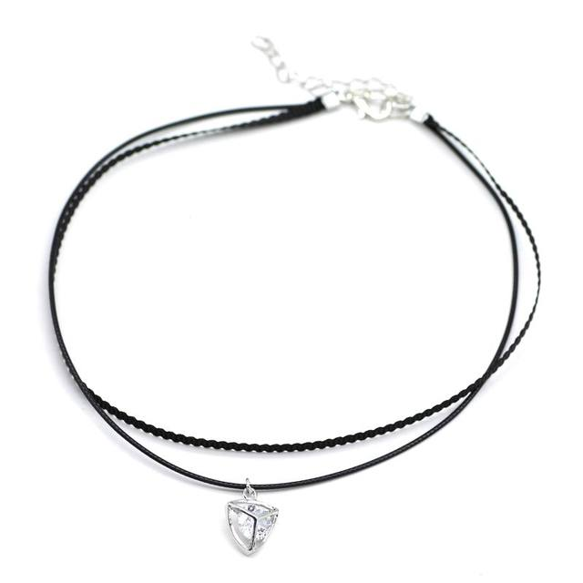 b434e0a07 Classic Black Choker Necklace With Black Rope Chain Short Necklaces New  Fashion Jewelry Double Layer