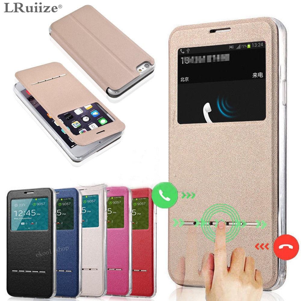 LRuiize For iphone X 10 Smart Front Window View Flip stativ PU - Reservdelar och tillbehör för mobiltelefoner - Foto 1