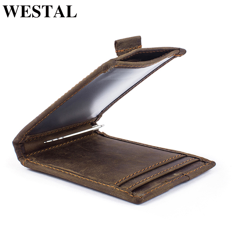 WESTAL Clamp for Money Genuine Leather Men Wallets with String Money Clip Credit Card Case Cash Clip Bifold Wallet Male Purse slim cash genuine leather women men holder clamp for money clip metal i male female wallet purse with card bill kashelek cateira