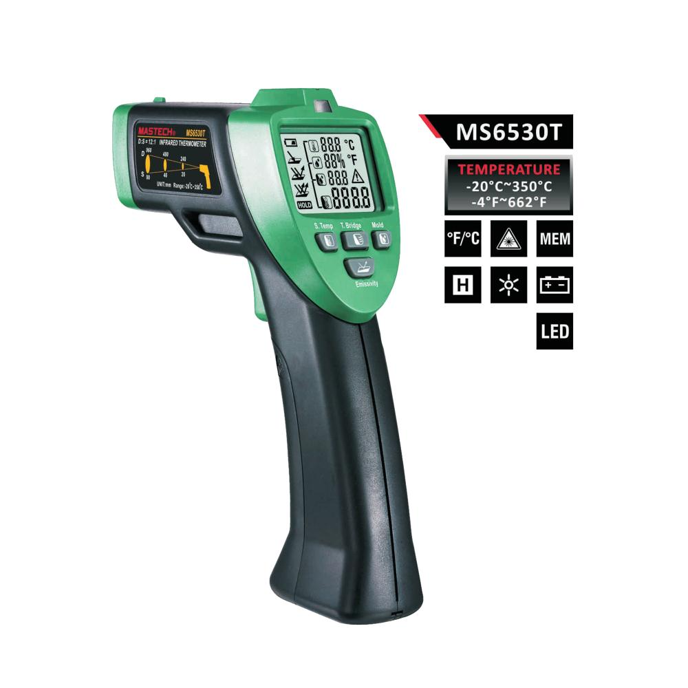 MASTECH MS6530T 12:1(D:S) Digital Non-contact Infrared Thermometer IR Temperature Meter with Laser Sighting and Backlight mastech ms6530a d s 12 1 non contact infrared thermometer ir temperature gun with laser pointer tester 20c 850c