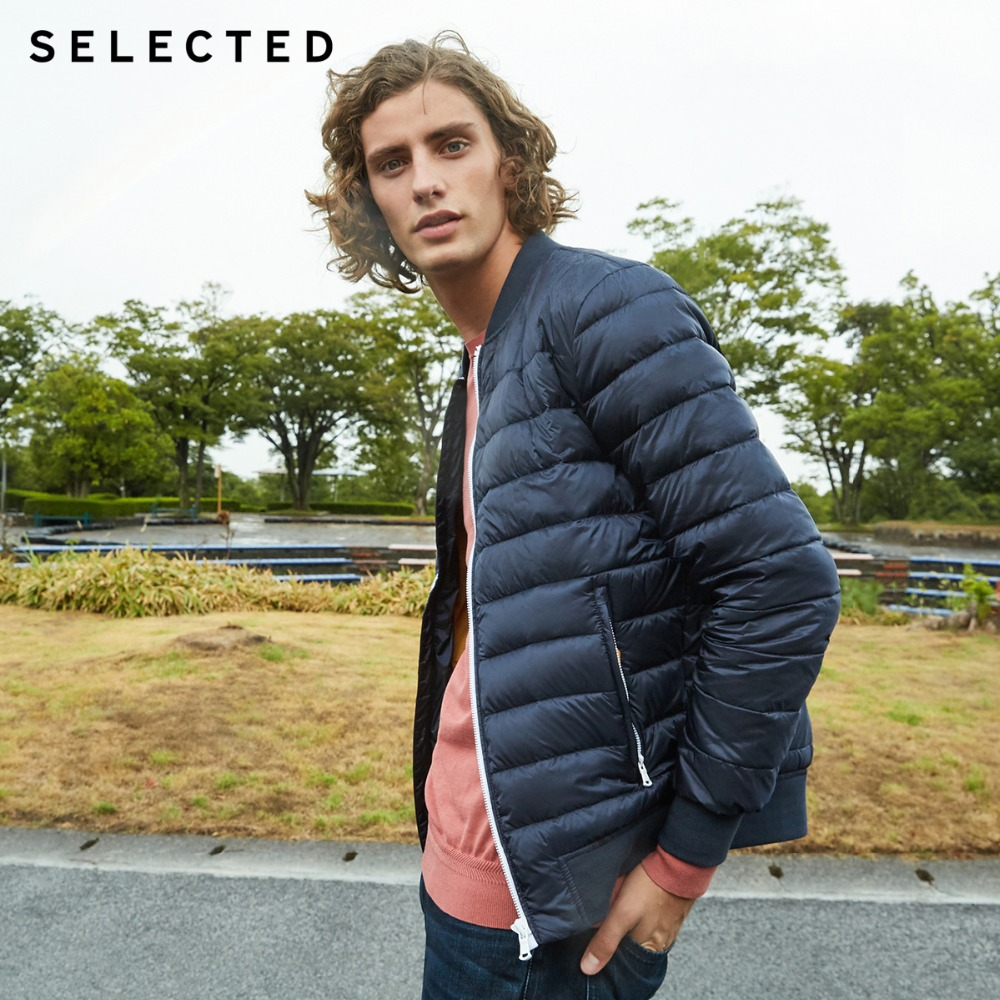 SELECTED Men's Winter   Down   Jacket Baseball Collar Short Duck   Coat   Warm Clothes S|418412531