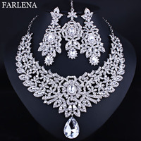 FARLENA Jewelry Clear Crystal Rhinestones Necklace Earrings And Frontlet For Bride Indian Wedding Jewelry Sets