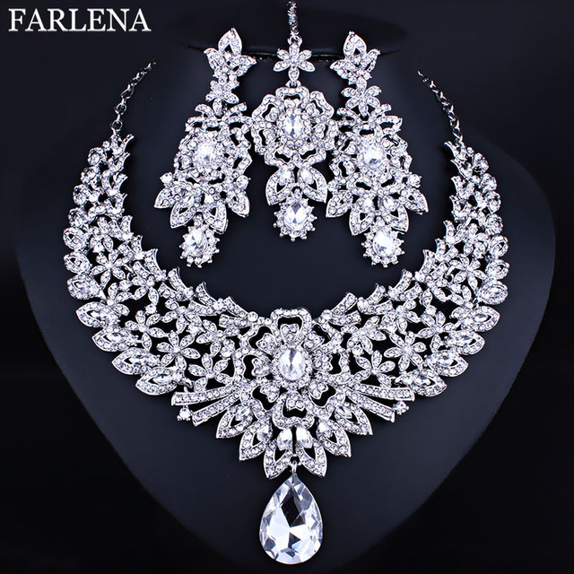 FARLENA Wedding Jewelry Clear Crystal Rhinestones Necklace Earrings and Frontal