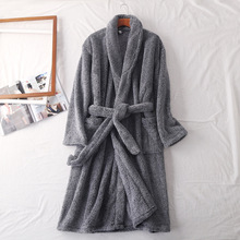 Winter Warm Robe Men Thick Bathrobe Women Kimono Bath Long Sleepwear Robes