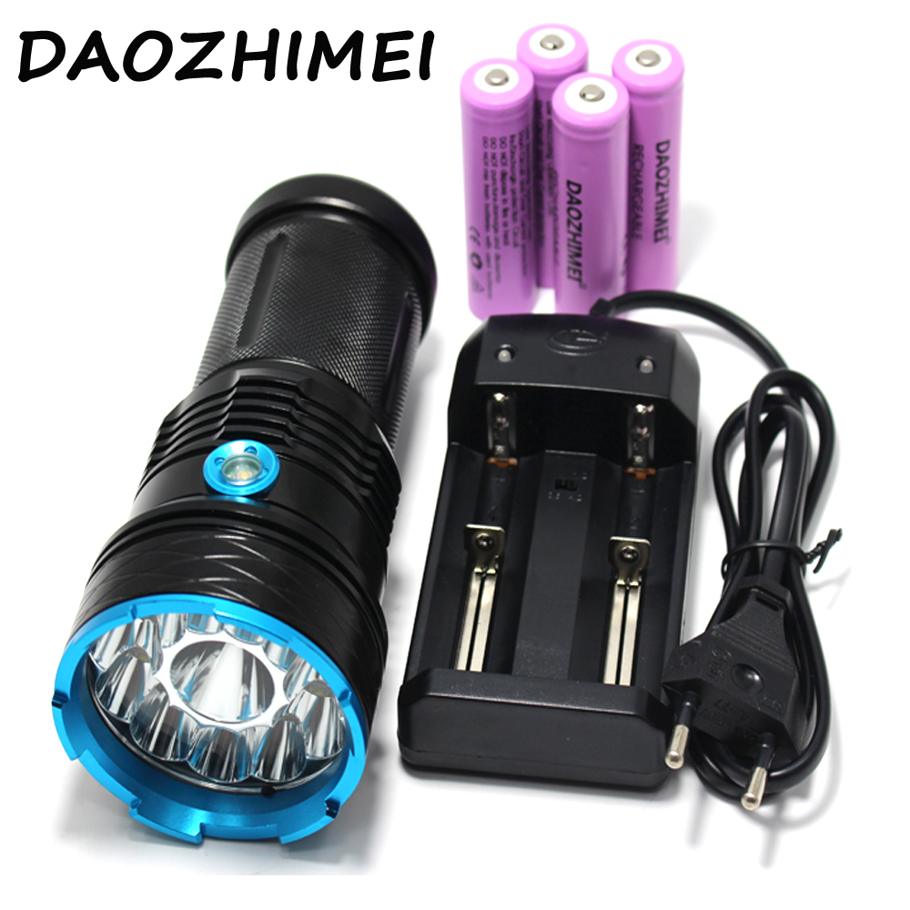 30000 lumens Super Bright LED flashlamp 12 x XM-L T6 XML T6 12T6 LED Flashlight Hunting Torch + 4 *18650 battery + Charger 120w waterproof 24000 lumens 12t6 led hunting flashlight 12x cree xml t6 outdoor lanterna torch light lamp with 18650 battery