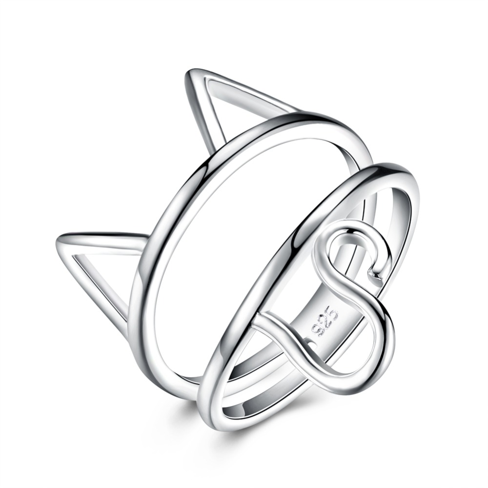 Hot selling sterling silver jewelry high-end jewelry romantic animal series ring cute cat ear ring sweet girl to the dance