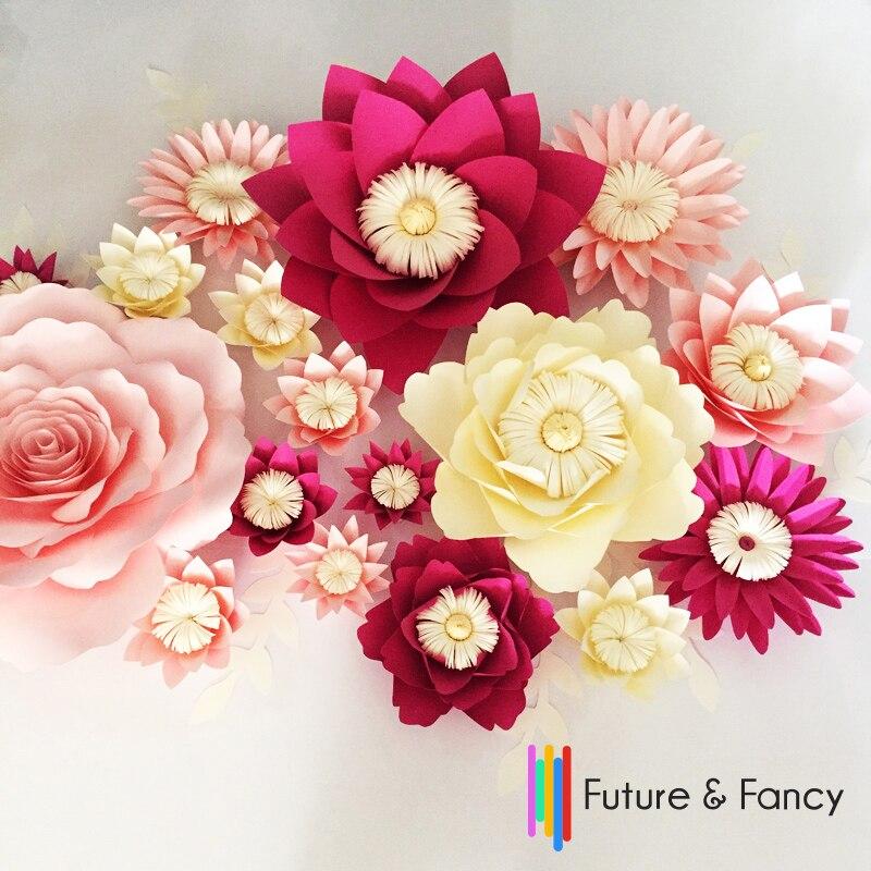 17 unids Flores + 10 unids Hojas Simulación Cartón Papel Rosa - Para fiestas y celebraciones