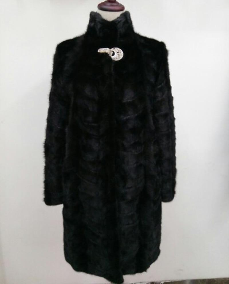 Real Piece Mink Fur Coat For Women Stand Collar Natural Mink Fur Jacket Outwear