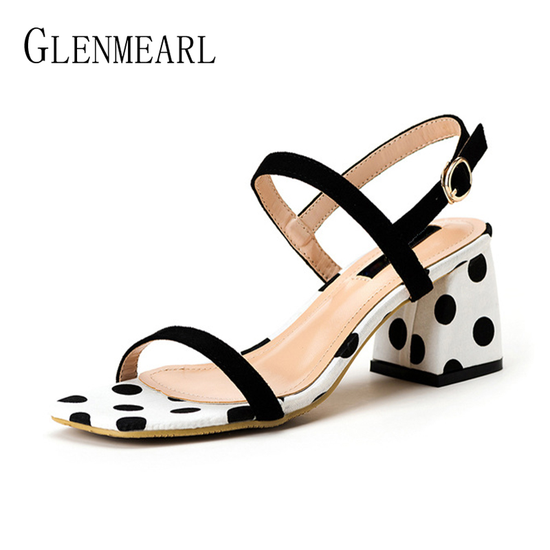 Brand Summer Shoes Woman High Heels Fashion Women Sandals Wave Point Square Open Toe Buckle Strap Dress Shoes Lady Thick Heel DE xiaying smile summer woman sandals square cover heel woman pumps buckle strap fashion casual flower flock student women shoes