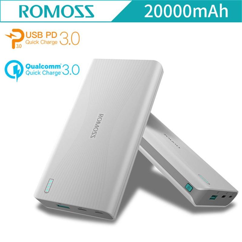 ROMOSS/Roma Shi sense6 + 20000 mAh Poverbank A due vie Carica rapida di Sostegno PD QC3.0 Standard Del Telefono Mobile di Potere Esterno banca