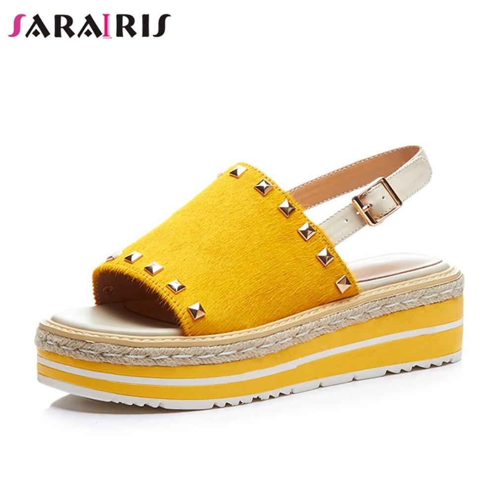 SARAIRIS 2019 الصيف أزياء العلامة التجارية سميكة صنادل أرضية النساء جلد طبيعي أسافين الأحذية امرأة-في كعب عالي من أحذية على  مجموعة 1