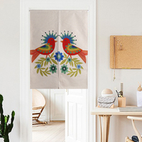 Festive Flowers And Birds Retro And Elegant Simple Door Curtain Linen Tapestry Study Bedroom Home Decor