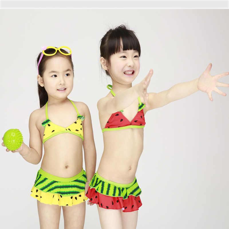 Crianças adorável conjuntos de biquíni duas peças meninas melancia banho crianças tankini ternos dividir maiôs biquini infantil k505