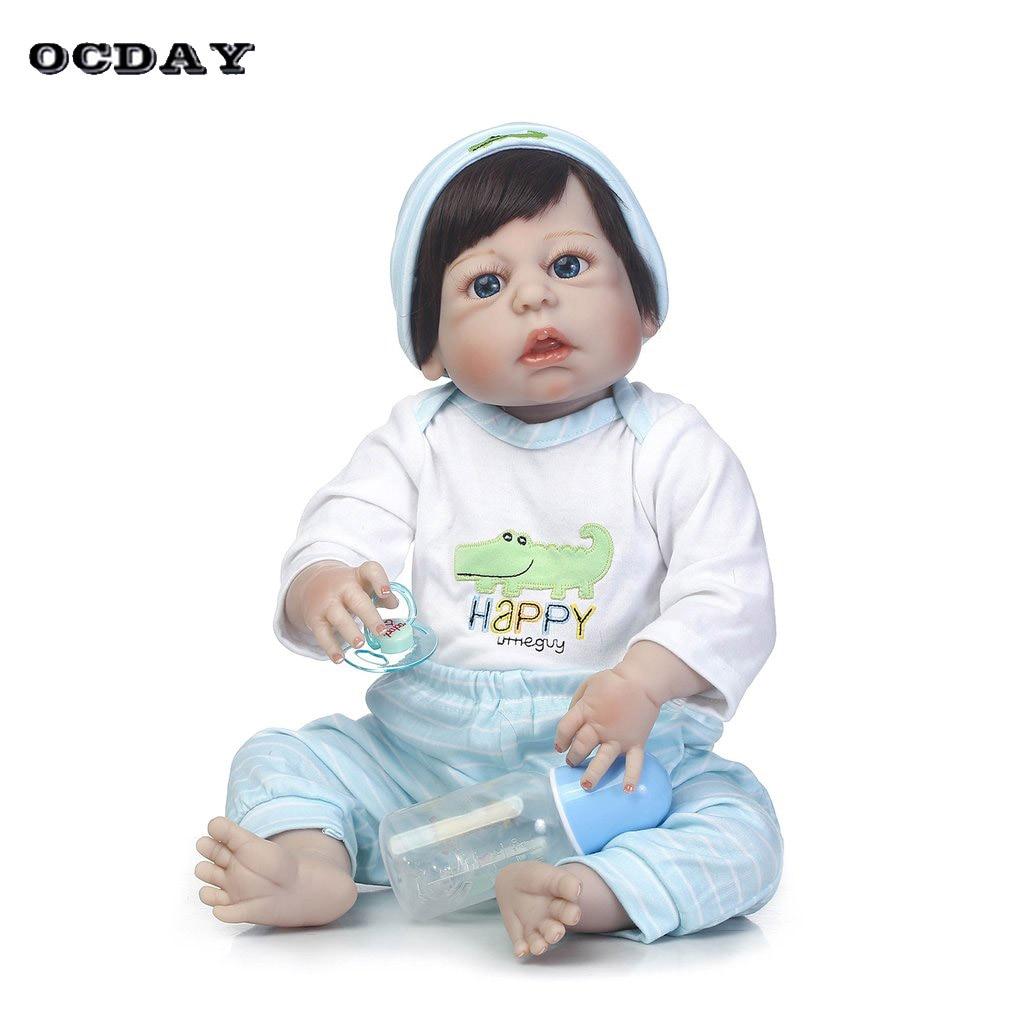 купить 56cn Silicone Reborn Baby Boy Doll Full Body Vinyl kids alive Playmate bonecas Gift Toys Handmade Lifelike Reborn Toys Doll по цене 6496.69 рублей