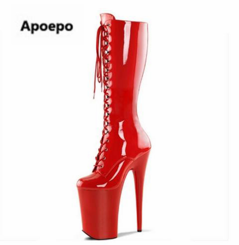 sales women long boots Special platform heel 2018 red booties party dress shoes 20CM / 15 cm high-heeled female shoes woman high heels special platform 2017 summer autumn sandals new cannes star party wedding shoes 20cm 15 cm high heeled shoes