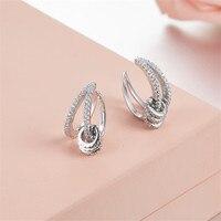 ZOZIRI brand monaco zircon Rotation circle Cuff Clip Earring Clear CZ bead Ear Clip Earring For Women fashion birthday Jewelry
