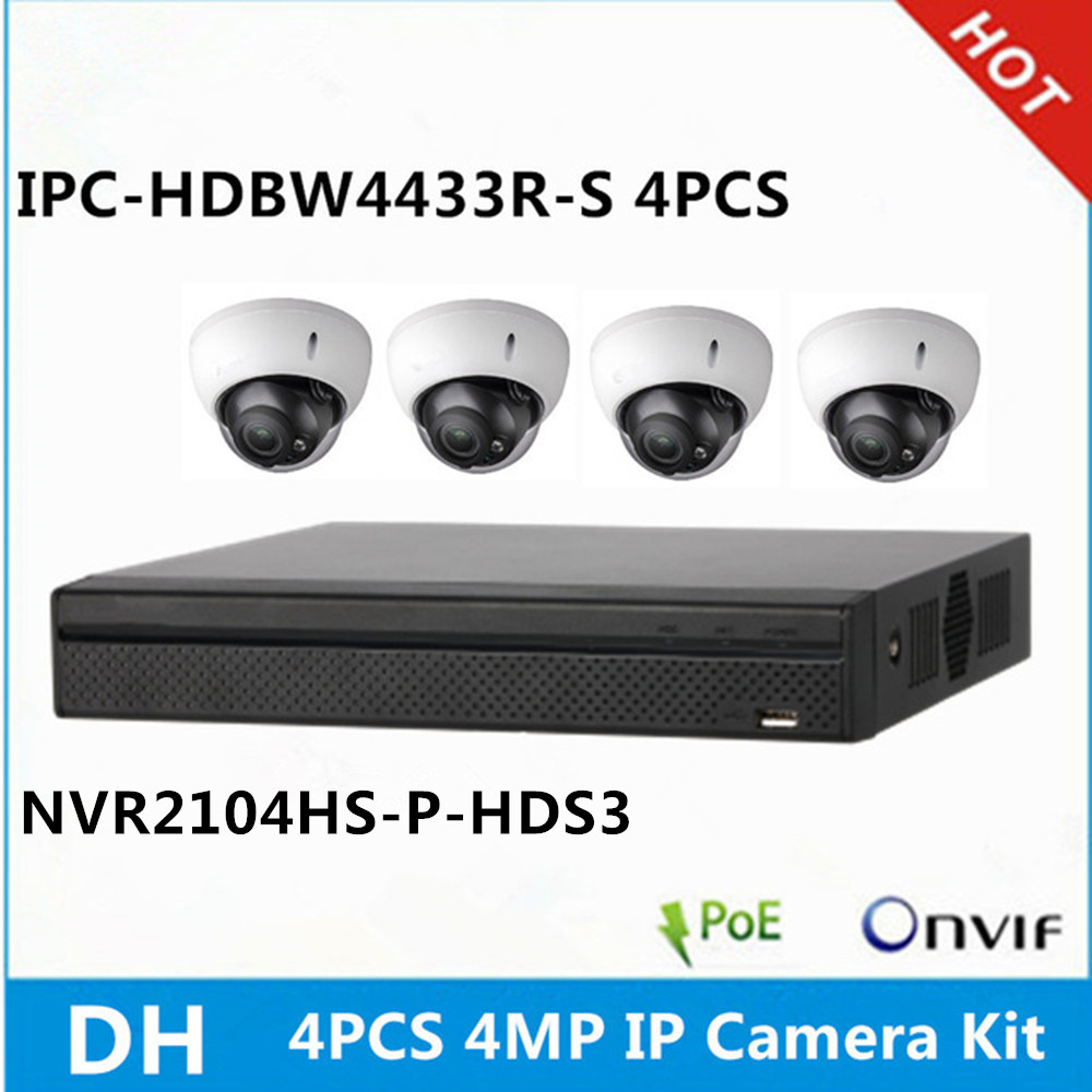DH 4 pcs IPC HDBW4433R S IP Camera NVR2104HS P HDS3 4ch with 4 poe ports