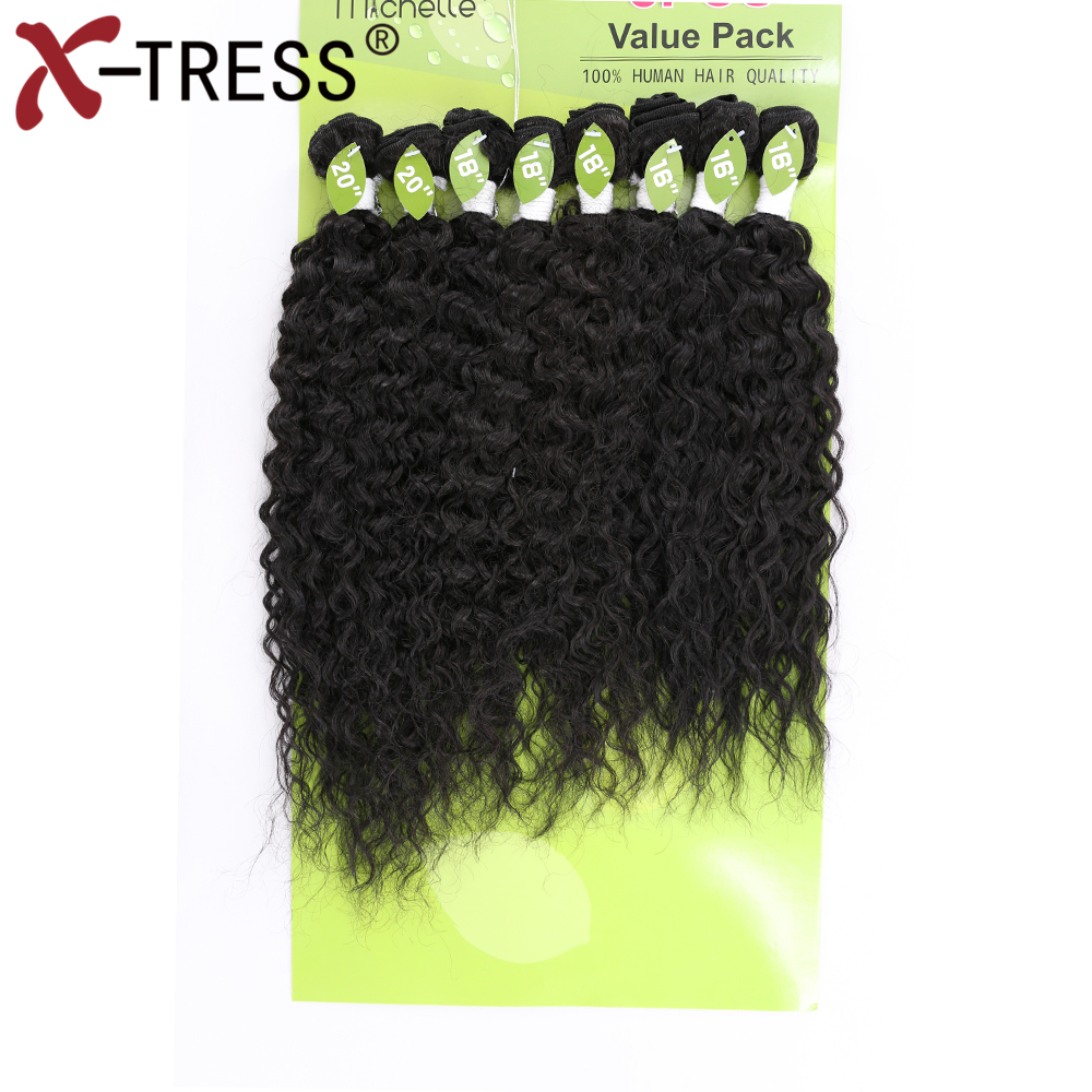 X-TRESS 16-20 Kinky Curly Hair Weaves Kanekalon High Temperature Fiber Synthetic Hair Bundles Sew in hair Extensions 8pcs/pack