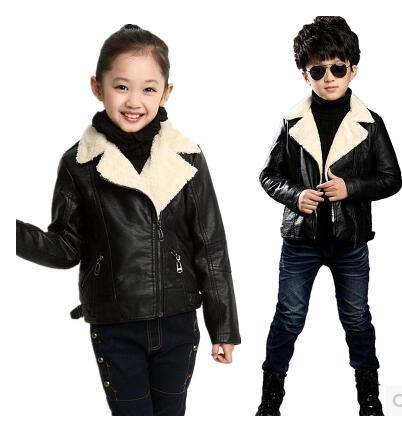 fashion boys jackets leather outerwear child Autumn and winter casual top turn down collar leather jacket