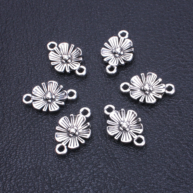 40pcs Lot Ancient Silver Flowers Connector Er Charm For Jewelry Making Supplies Bracelet Maker Metal