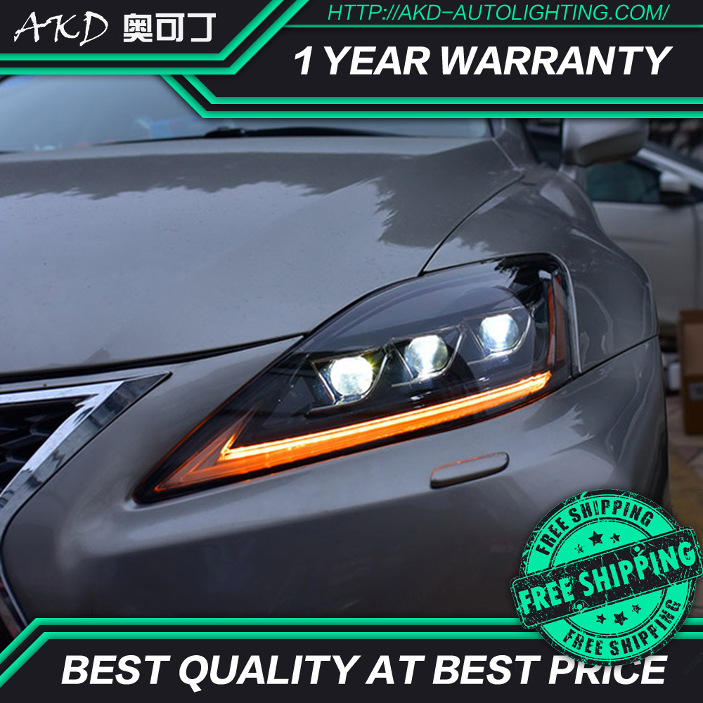 AKD tuning cars Headlight for lexus IS 250 IS300 is350 Headlights LED DRL Running lights Bi