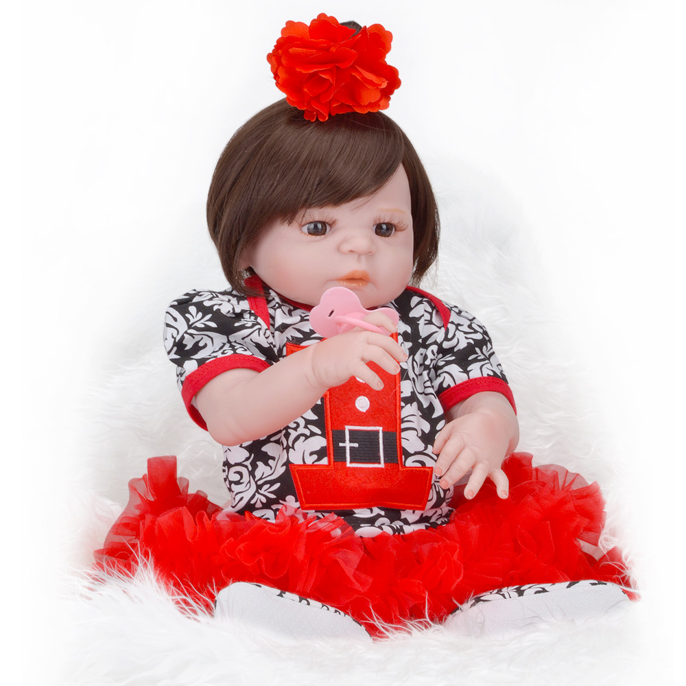 Simulation bebe Lovely Reborn Babies Doll Full Silicone Vinyl 23 Inch/ 58cm Realistic Baby Alive Doll Fashion Newborn Girl Dolls цена