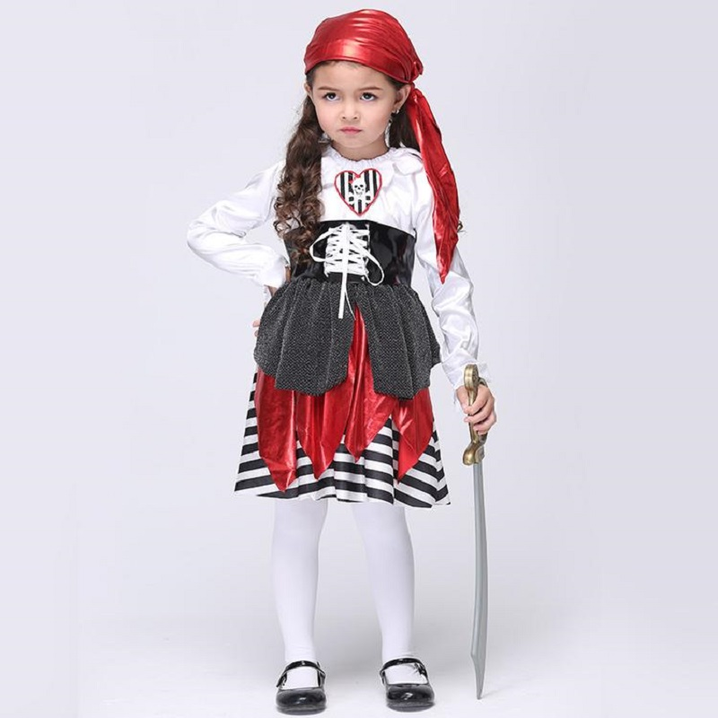 Children Girls Pirate Costume Halloween Costume For Kids Performance Dancing Dress Toddler Party Cosplay Stage Wear