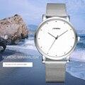 SINOBI marca Reloj de Cuarzo Correa de Los Hombres de Malla de Metal Ultra Delgado Hombres de La Moda Relojes 2016 Relogio masculino Relojes de pulsera A Prueba de agua