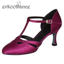 Size US 4 12 Comfortable Purple Brown Tan Salsa Zapatos De Baile Heel Height 7cm Ballroom