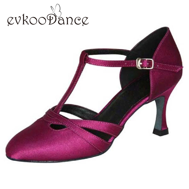 Size US 4 12 Comfortable Purple Brown Tan Salsa Zapatos De Baile Heel Height 7cm Ballroom Dance Shoes Closed Toe For Women NB019