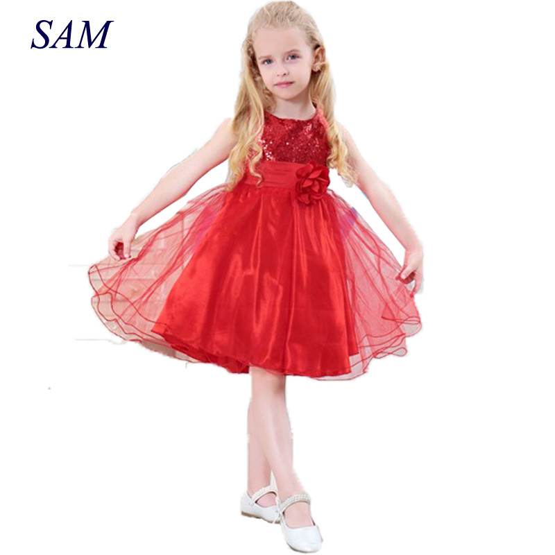 New Fashion Sequin Flower Dress Party Birthday Wedding Princess Toddler Baby Girls Clothes Children Kids Lycra Dresses girls dress 2017 new summer flower kids party dresses for wedding children s princess girl evening prom toddler beading clothes
