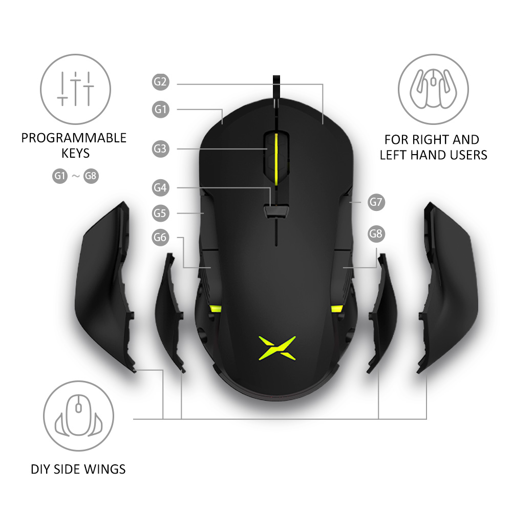Image 2 - Delux M627S DIY Side Wings Wired Gaming Mouse 8 Buttons 5000 DPI RGB Backlight Optical Left and Right hand Mice For PC Game User-in Mice from Computer & Office