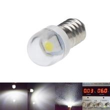 2/4 pces e10 lâmpada 5050 smd 1 lâmpada led 6 v 3 v dc 3 volts branco 6000k mes 1447 parafuso baselight para tocha lanterna bicicleta