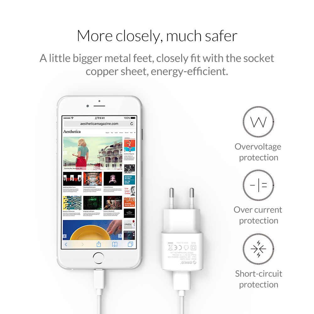 Orico Travel Charger USB 5V2A 5V1A Uni Eropa Plug Mini Charger Adaptor Smart Charger untuk Ponsel Tablet WHA-1U