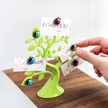vanzlife Creative lucky tree ladybug magnets photo clip notes folder refrigerator microwave magnetic stickers(China)