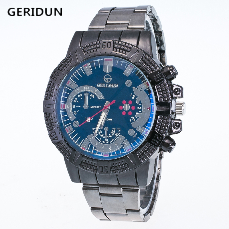 GERIDUN Luxury Brand Men Fashion Sport Watches Men's Quartz Analog Clock Man Full Steel Wrist Watch montre homme Reloj Hombre casima luxury brand sport quartz watches men reloj hombre fashion silicone band100m waterproof men watch montre homme clock