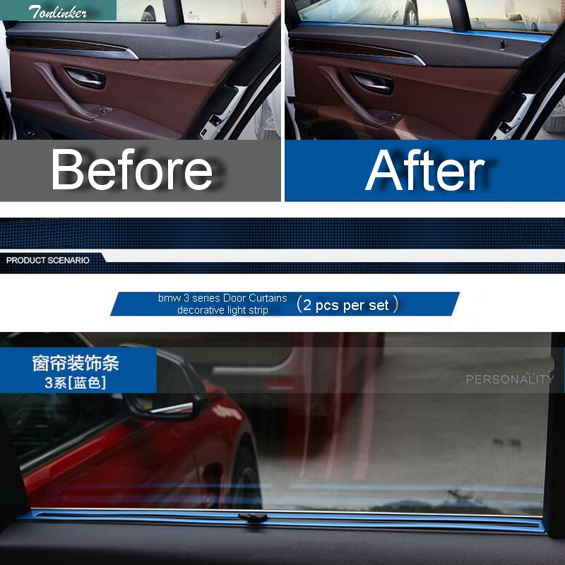 Tonlinker 2 PCS Car DIY Stainless Steel Door Curtains Light Strip Cover Case stickers for Bmw 3 Series 320li Accessories