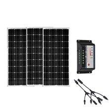 Solar Panel 100w 12v  3 Pcs Photovoltaic 300w 220v Charge Controller 12v/24v 30A LED Motorhomes Car Caravan Camping
