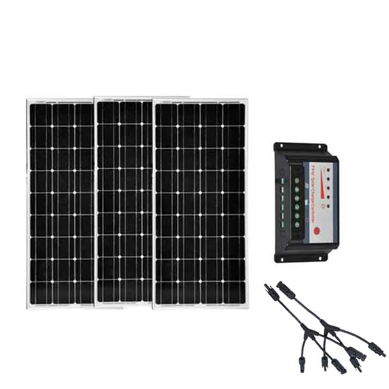 Solar Panel 12v 100w 3 Pcs Solar Home System 300W Solar Charge Controller 12v/24v 30A 3 In 1 Connector LED Lamp Motorhomes Car