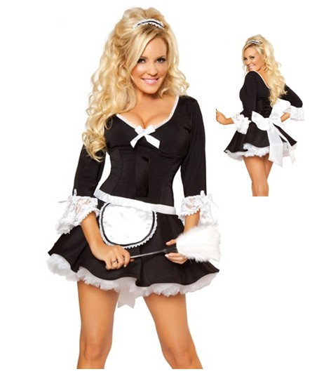 French Maid Uniform Adult Half Sleeves Fun Maid Stage Cosplay Costume Lingerie Fancy Dress Outfit Sexy Maid Costumes