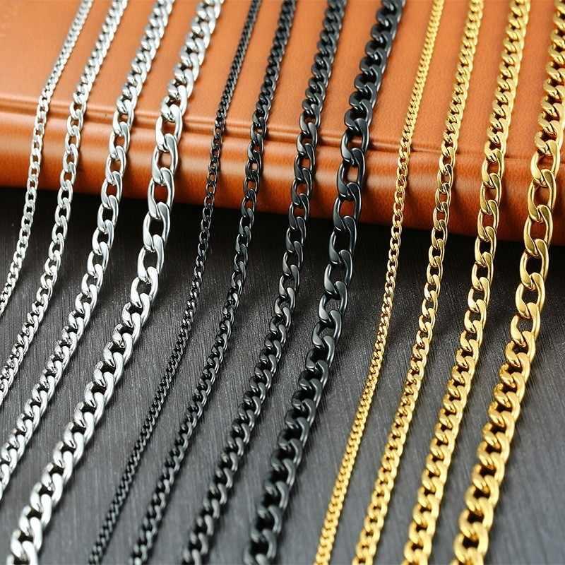 Podstawowe kubański Link Chain naszyjniki dla mężczyzn złoty czarny srebrny Tone ze stali nierdzewnej mężczyzna Choker kołnierz akcesoria