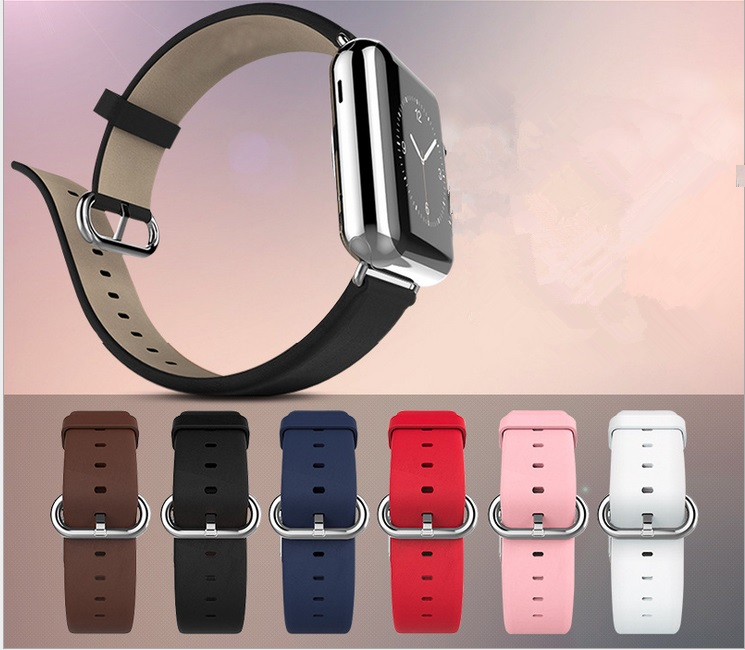 Genuine Leather Calfskin strap For Apple Watch Band 42mm iwatch belt 38mm men women bracelet With Adapter Connector Series 2 1 kakapi crocodile skin genuine leather watchband with connector for apple watch 38mm series 2 series 1 pink