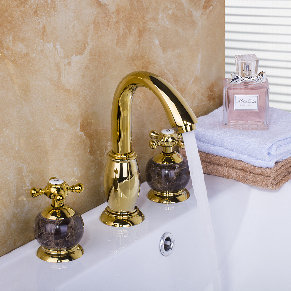 AS Gold Marble Taps Waterfall 3 Pieces Bathroom Bathtub Basin Sink Brass Faucet