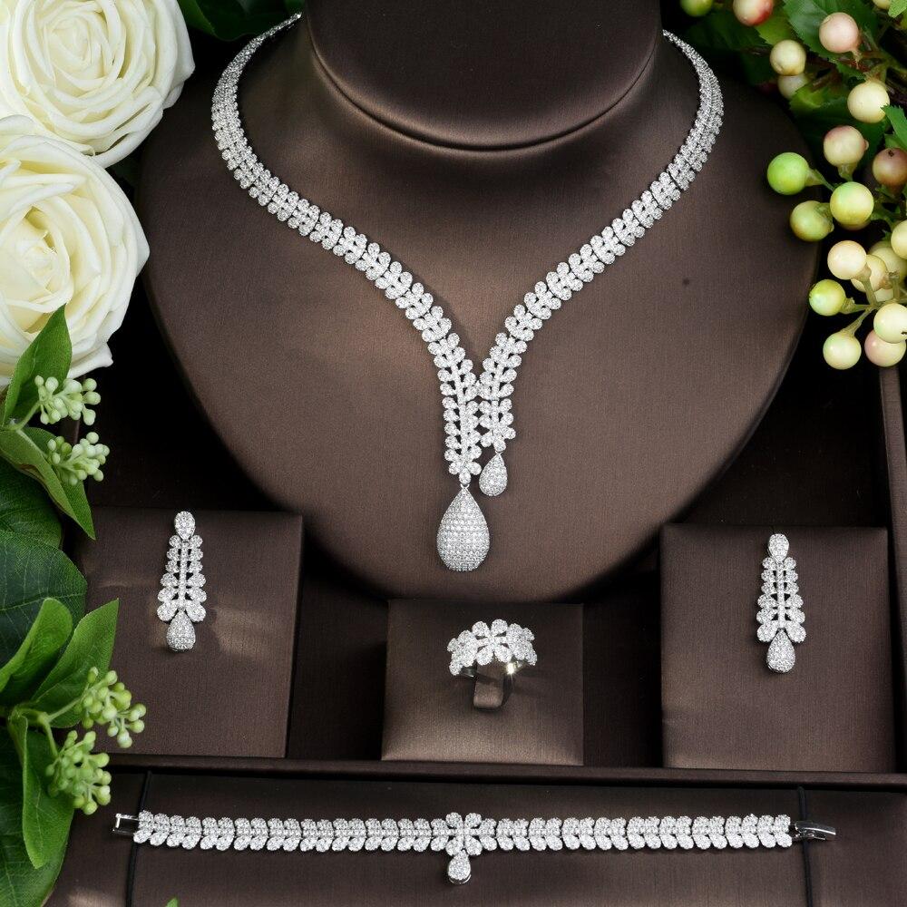 HIBRIDE moda nupcial 4 piezas damas boda conjuntos de joyería con AAA cúbico zirconia piedra accesorios de fiesta Dubai conjunto de joyería N 962-in Conjuntos de joyería from Joyería y accesorios    2