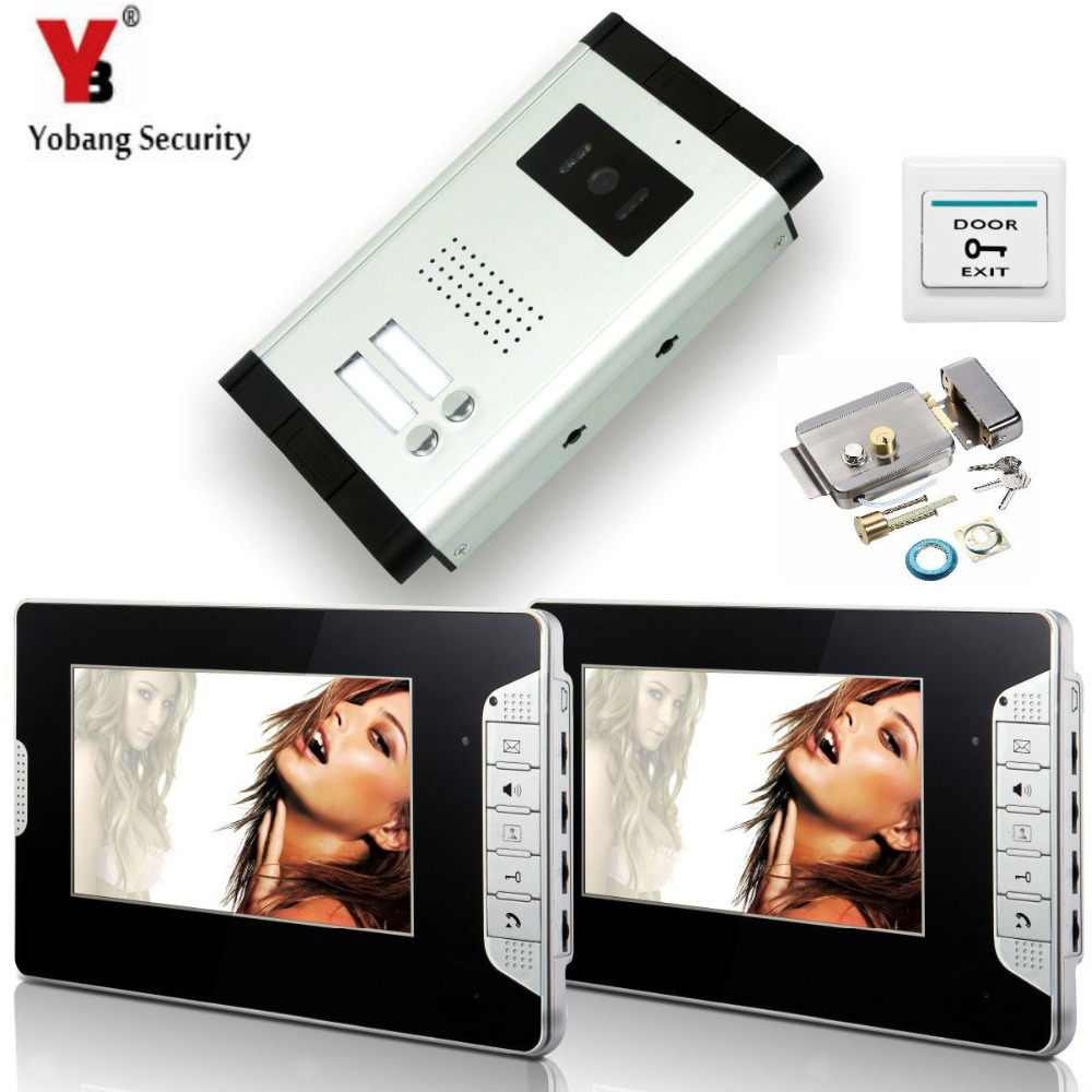 YobangSecurity 2 Units Apartment Wired 7Video Door Phone Video Door Entry System Intercom Entry Access System+Door Lock yobangsecurity wired 7 inch lcd video door bell phone intercom rfid card access control home gate entry system with door lock