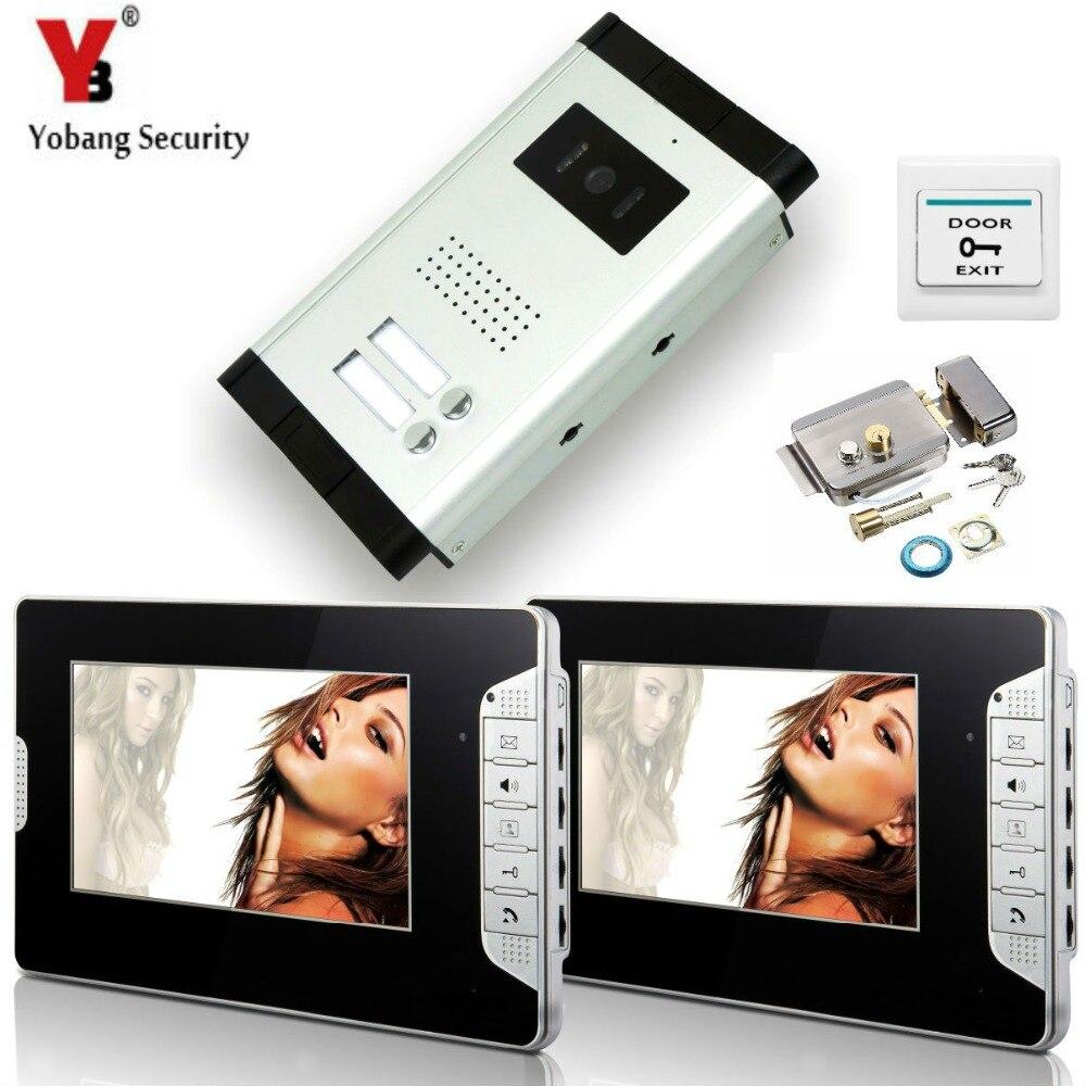 Yobangsecurity 2 единицы Квартира Проводной 7 телефона двери видео запись Системы домофон доступа Системы + дверь замок ...